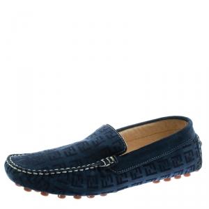 Fendi Blue Monogram Print Suede Loafers Size 39