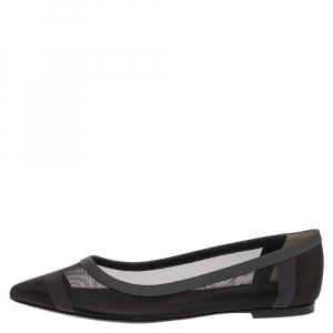 Fendi Black Mesh And Blue Leather Trim Pointed-Toe Flats Size 38