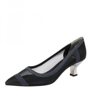 Fendi Black Mesh And Blue Leather Trim Colibri Pointed Toe Pumps Size 40