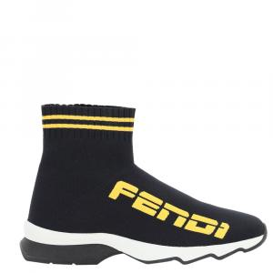 Fendi Black/Yellow knit Canvas Logo Sock  Sneakers IT 37