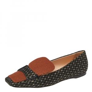 Fendi Black/Orange Jacquard And Tweed Fabric FFreedom Square Toe Sip On Loafers Size 39