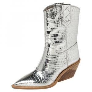 Fendi Silver Croc Embossed Leather Cutwalk Cowboy Boots Size 38
