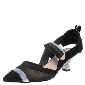 Fendi Multicolor Mesh And Fabric Colibri Slingback Pointed Toe Sandals Size 36