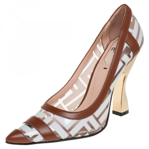 Fendi White/Brown Zucca PVC and Leather Trim Colibri Pointed Toe Pumps Size 36