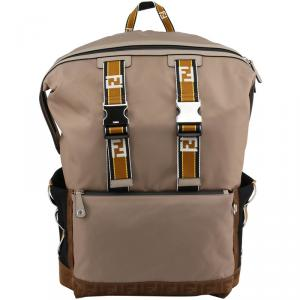 Fendi Brown Nylon and Leather Backpack