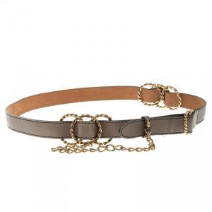 Fendi Grey Leather Multi Braided Buckle Belt Size 85CM