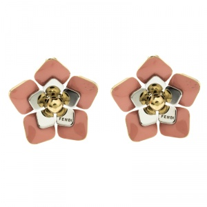 Fendi Blossom Enamel Flower Two Tone Metal Stud Earrings