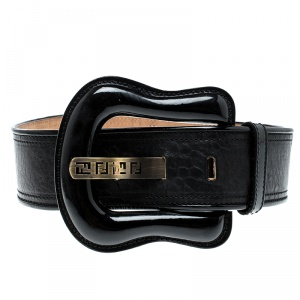 Fendi Black Leather and Patent Leather Waist B Buckle Belt 75cm