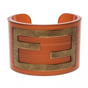 Fendi Orange Resin Wide Open Cuff Bracelet