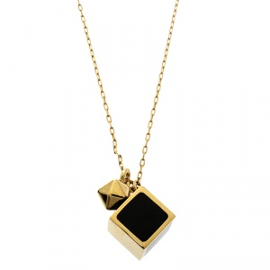 Fendi Black Enamel Cube Gold Tone Pendant Necklace