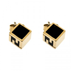 Fendi Black Enamel Cube Gold Tone Stud Earrings