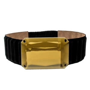 Fendi Black Suede Crystal Wide Elastic Belt 85cm