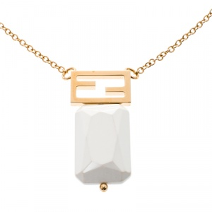 Fendi FF White Crystal Gold Tone Pendant Necklace