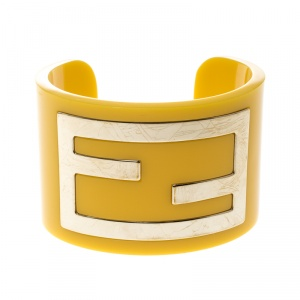 Fendi Yellow Resin Gold Tone Wide Open Cuff Bracelet