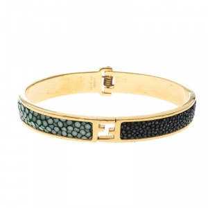 Fendi Black & Green Stingray Inlay Gold Tone Bangle Bracelet M