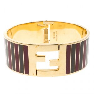 Fendi Fendista Grey and Fuschia Striped Enamel Gold Tone Wide Bracelet S