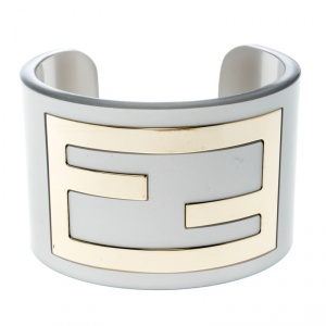Fendi Grey Resin Gold Tone Wide Open Cuff Bracelet