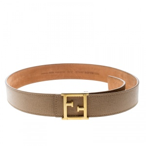 Fendi Beige Saffiano Leather Logo Buckle Belt 80cm