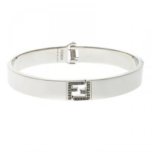 Fendi Fendista Crystal Silver Tone Bracelet M