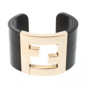 Fendi Black Leather Gold Tone Wide Open Cuff Bracelet
