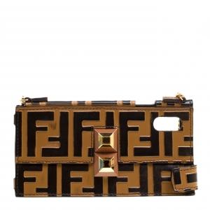 Fendi Brown/Black Zucca Leather iPhone X Case