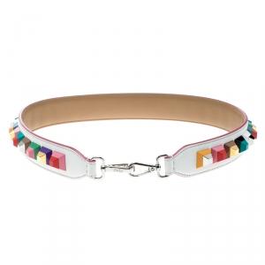 Fendi White/Multicolor Leather Strap You Bag Strap