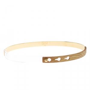 Fendi Wood & Plexiglass Gold Tone Skinny Waist Belt XS