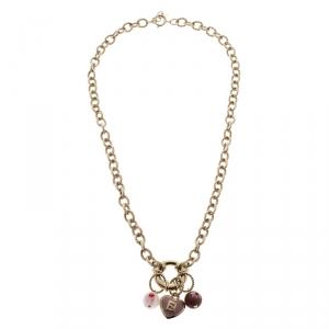 Fendi Enamel Heart Gold Tone Charm Necklace