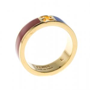 Fendi The Fendista Red & Blue Enamel Gold Tone Band Ring Size 59