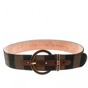 Fendi Brown Stripped Canvas Round Buckle Belt Size 90