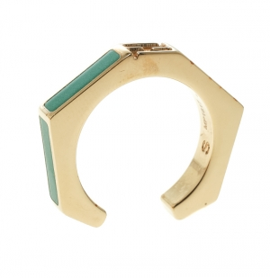 Fendi Polished Green Gold Tone Baguette Ring Size 52.5