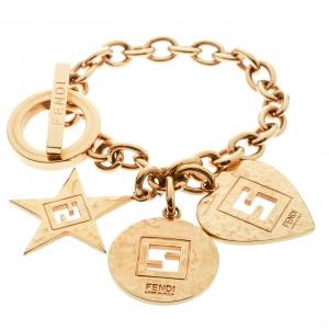 Fendi Heart Star Charm Gold Tone Chain Link Toggle Bracelet
