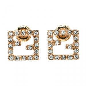 Fendi FF Crystal Gold Tone Stud Earrings