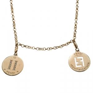 Fendi Logo Identification Charms Gold Tone Rolo Chain Necklace