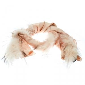 Fendi Beige Silk Fox Fur Trim Detail Stole
