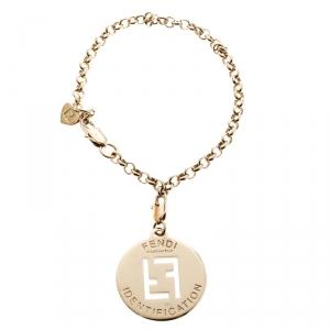Fendi FF Identification Charm Gold Tone Link Bracelet