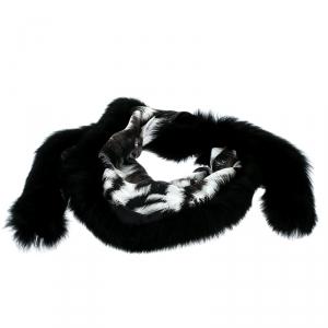 Fendi Black and Grey Printed Silk Fox Fur Trim Detail Wrap Scarf