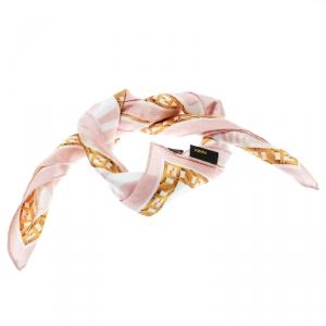Fendi Pink Zucca Printed Cotton Square Handkerchief