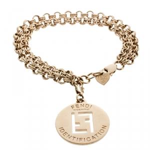 Fendi Identification Gold Tone Chain Link Charm Bracelet