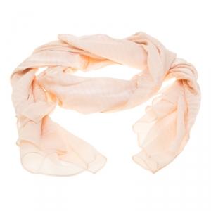 Fendi Blush Pink Cursive Logo Pattern Silk Jacquard Scarf