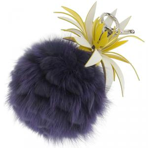 Fendi Purple/Yellow Fur and Leather Pineapple Bag Charm and Key Holder