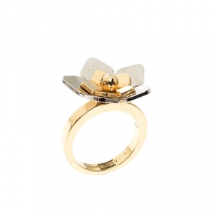 Fendi Two Tone Flower Ring Size 51