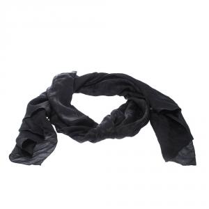 Fendi Black Zucca Monogram Silk Chiffon Scarf