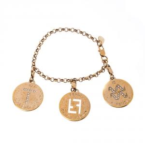 Fendi Logo Identification Crystal Gold Tone Charm Bracelet