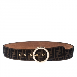 Fendi Tobacco Zucca Canvas and Leather Round Buckle Belt 90CM