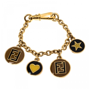 Fendi Multicolor Zucca and Star Charms Gold Tone Bracelet