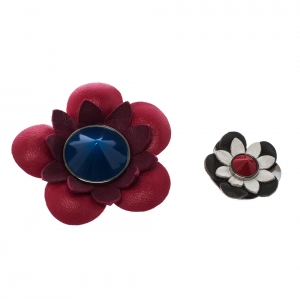 Fendi Set of 2 Multicolor Floral Leather Silver Tone Magnetic Brooches