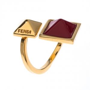 Fendi Gold Tone Double Pyramid Open Ring Size 49