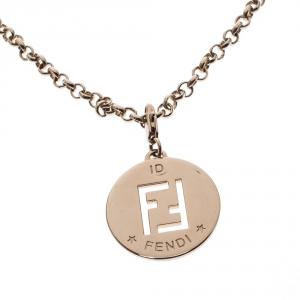 Fendi Identification Gold Tone Charm Necklace