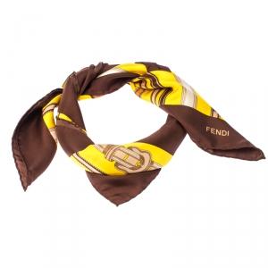 Fendi Yellow And Brown Belt Print Silk Foulard Scarf